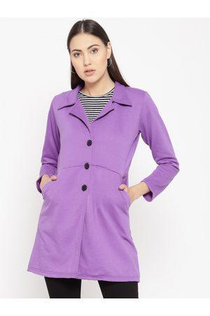 Belle Women Purple Solid Longline Jacket