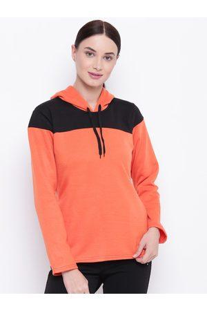 Belle Women Orange & Black Colourblocked Hooded Sweatshirt