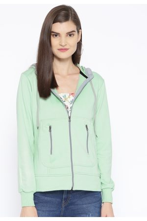 Belle Women Sea Green Solid Hooded Sweatshirt