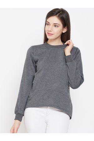 Belle Women Charcoal Grey Solid Sweatshirt