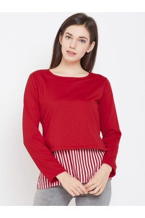 Belle Women Red Solid Layered Top