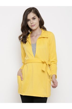 Belle Women Yellow Solid Tailored Jacket