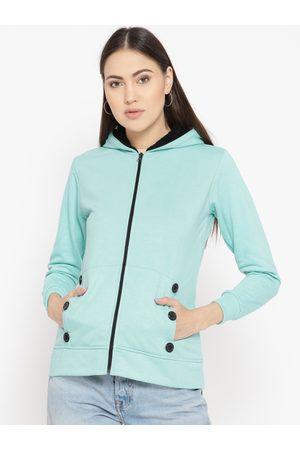 Belle Women Blue Solid Hooded Sweatshirt