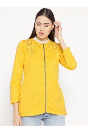 Belle Women Jackets - Women Yellow Embellished Detail Lightweight Jacket
