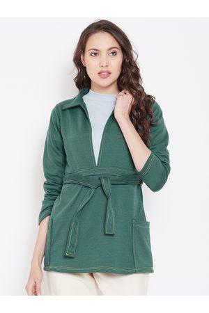 Belle Women Teal Green Solid Sweatshirt