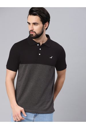 American Crew Men Black Solid Polo Collar T-Shirt