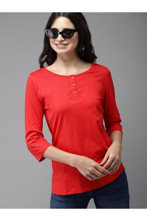 HERE&NOW Women Red Solid Henley Neck T-shirt
