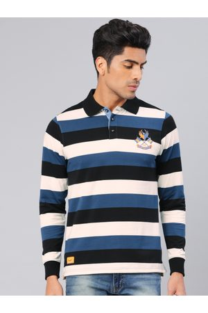 American Crew Men White & Navy Blue Striped Polo Collar T-shirt