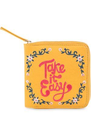 Chumbak Women Wallets - Women Mustard Yellow Embroidered Zip Around Wallet