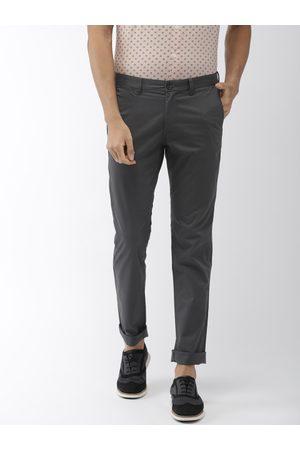 Indian Terrain Men Charcoal Grey Brooklyn Slim Fit Solid Chinos