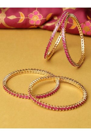 Priyaasi Women Set of 4 Purple Gold-Plated Stone-Studded Handcrafted Bangles