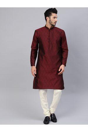 SOJANYA Men Maroon & Off-White Self Design Kurta with Churidar