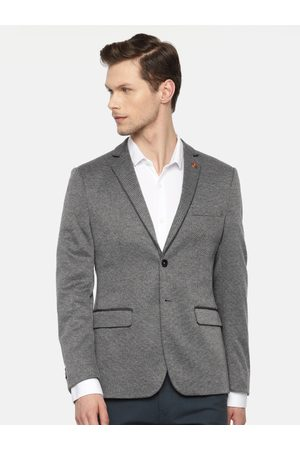 Ralph Lauren Men Blazers - Men Grey Self-Design Single-Breasted Slim Fit Smart Casual Blazer