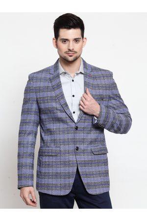 LUXURAZI Men Blue & Grey Checked Slim Fit Single-Breasted Blazer