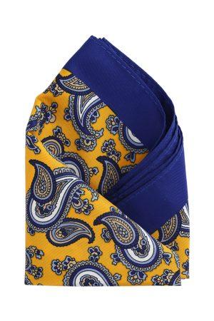 Calvadoss Men Yellow & Blue Printed Pocket Square
