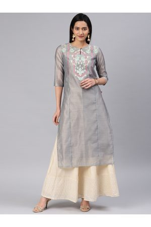 ALENA Women Grey Embroidered Straight Kurta