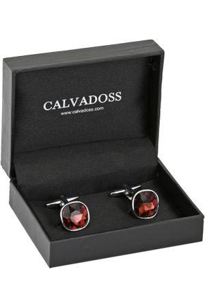 Calvadoss Maroon Diamond Shaped Cufflinks