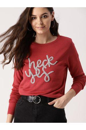 DressBerry Women Rust Red & Grey Self Design Acrylic Sweater