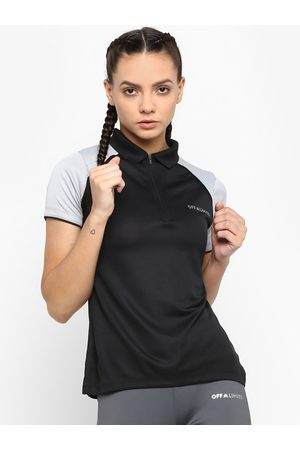 OFF LIMITS Women Black Solid Polo Collar T-shirt