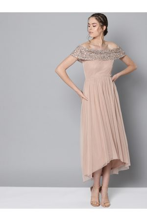 STREET 9 Women Beige Solid Off-Shoulder Net Maxi Dress