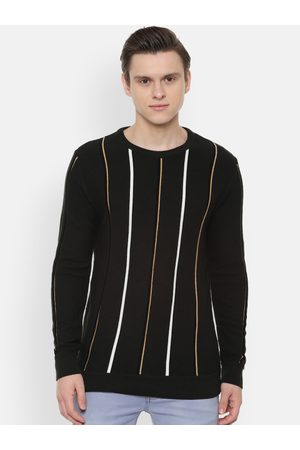 PEOPLE Men Black & White Striped Sweater