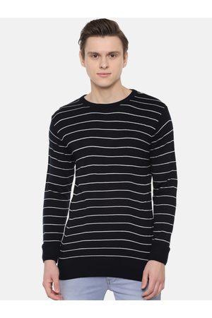 PEOPLE Men Jumpers - Men Black & White Striped Sweater