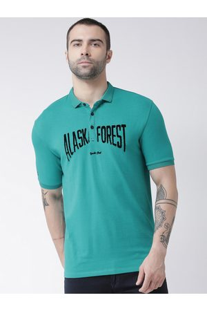Rex Straut Men Green Printed Polo Collar T-shirt