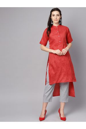 Nayo Women Red & Grey Solid Kurta with Trousers