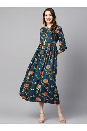 Nayo Women Teal Blue & Orange Printed A-Line Dress