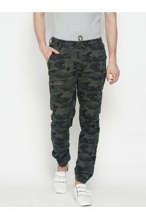 IVOC Men Joggers - Men Olive Green & Black Slim Fit Printed Joggers