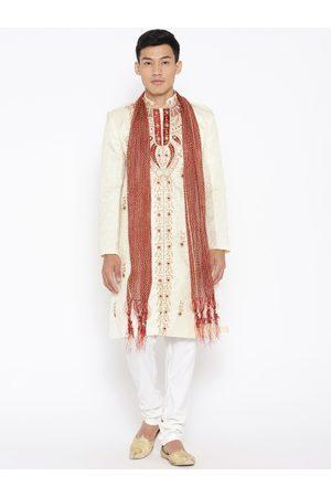 SG LEMAN Men Cream-Coloured & Maroon Embellished Sherwani with Churidar & Stole