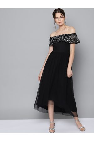STREET 9 Women Black Solid Net Maxi Dress