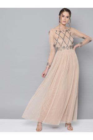 STREET 9 Women Beige Embellished Net Semi Sheer Maxi Dress