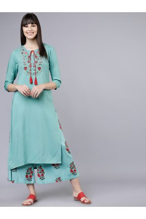 Vishudh Women Blue & Red Embroidered Kurti with Palazzos
