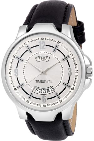TIMESMITH Men White & Steel-Toned Leather Analogue Watch TSC-080