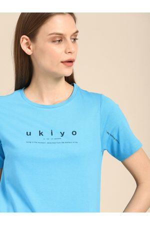 Ether Women Blue Printed Round Neck T-shirt