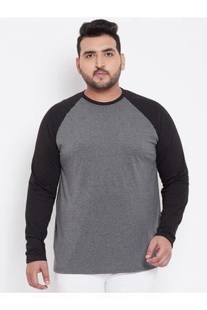 bigbanana Plus Size Men Grey Black Solid Round Neck T-shirt