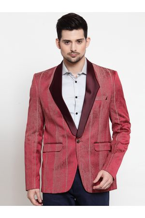 LUXURAZI Men Red Striped Slim-Fit Tuxedo Blazer