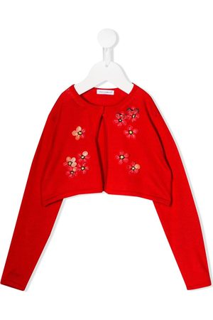 Dolce & Gabbana Girls Cardigans - Embroidered floral cropped cardigan