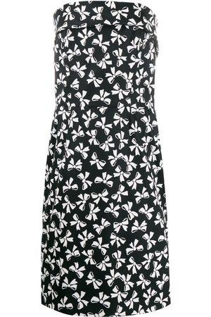 Yves Saint Laurent 1980's bows print strapless dress