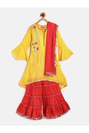 Biba Girls Mustard Yellow & Red Solid Kurta with Sharara & Dupatta