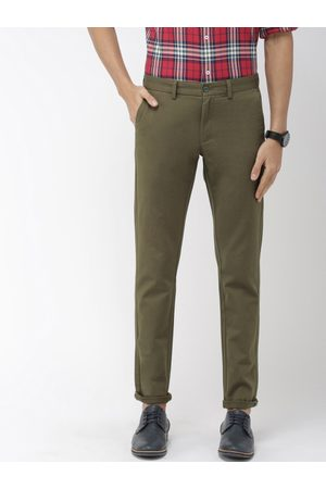Indian Terrain Men Olive Green Brooklyn Slim Fit Solid Smart Casual Chinos