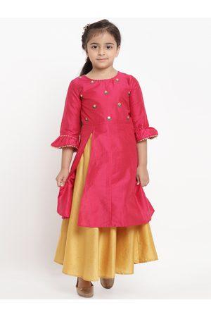 Bitiya by Bhama Girls Pink & Yellow Embroidered Kurta with Skirt