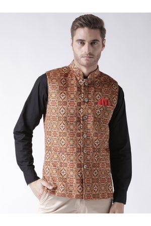 Hangup Men's Blended Bandhgala Festive Nehru Jacket/Waistcoat and Size Options (Up to2XL)