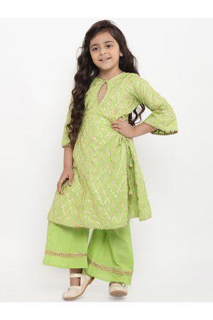 Bitiya by Bhama Girls Green Printed Kurta with Palazzos