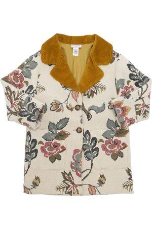 Oscar de la Renta Floral Wool Jacquard Coat W/ Corduroy