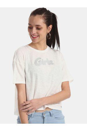 Flying Machine Women White Printed Round Neck T-shirt
