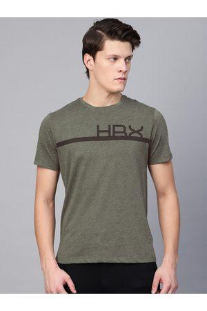 HRX by Hrithik Roshan Men Olive Green Solid Training T-shirt