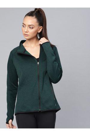 HRX Women Green Solid Training Sporty Jacket
