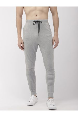 Flying Machine Men Grey Melange Slim Fit Solid Joggers